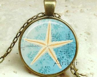 Starfish art pendant, starfish jewelry, starfish pendant, starfish necklace, beach necklace, beach jewelry, beachcomber, Pendant #AN209BR
