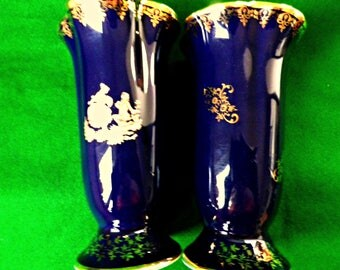 2 Limoges vases, pair of cobalt blue vases, Limoges courting couple, dark blue and gold small vases, gold plated decoration, French china