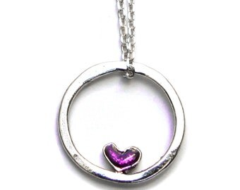 Small Valentine violet heart reversible necklace