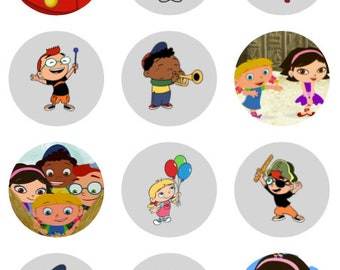 Little Einsteins cupcake toppers or stickers favor tags digital download 2 inch circles collage pdf instant printable labels 22807