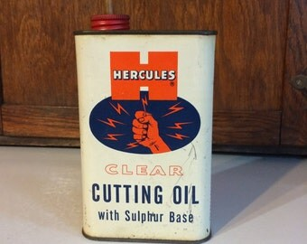 Vintage Antique Metal Hercules Cutting Oil Can