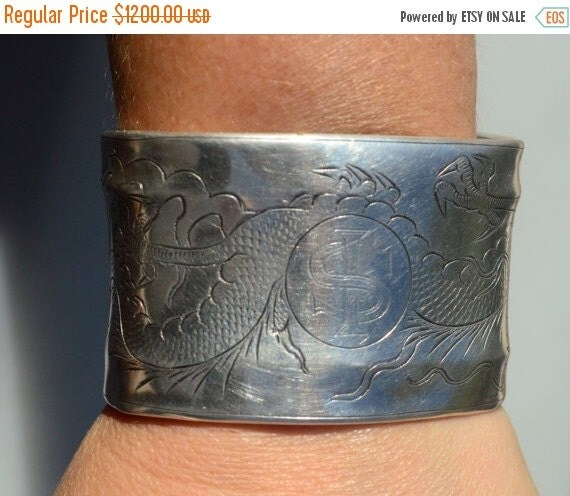 SALE 40% OFF Antique Chinese Export Dragon Art Nouveau Solid Sterling Silver 925 Repurposed Wide Cuff Bracelet Rare Bangle Asia Etched OOAK