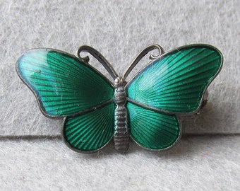 Vintage Signed Ivar T. Holt Norway Sterling Silver & Emerald Green Guilloche Enamel Butterfly Pin