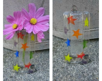 Fused Glass Rainbow Star Vase