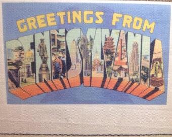 Pennsylvania Kitchen Towel With Vintage State Postcard Design
