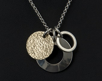 Silver and Gold Charm Pendant - Gold Filled Hammered Disc Charm - Sterling Silver Charm Pendant - Silver Domed Disc Charm - Ring Disc Charms