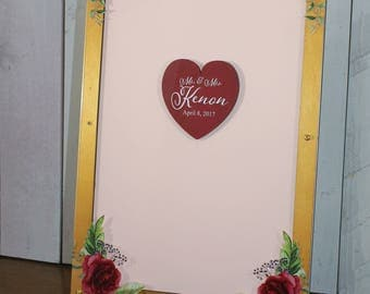 Wedding Guest Book/Top Drop/Alternative/Shadow Box/Drop Frame/Heart/Custom/U Choose Colors/Pink Rose/Valentine/Wood Shapes