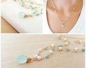 Aquamarine Gemstone Freshwater Pearl and Blue Chalcedony Necklace - Wire Wrapped 14k Gold Fill Tear Drop Necklace - Gold Fill Jewelry