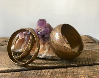 vintage brass and copper woven bangles set of 3