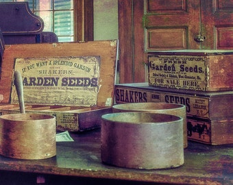 Rustic Home Decor, Farmhouse Decor, Shaker Seed Boxes, Kitchen Wall Decor, Canvas Wrap or Print