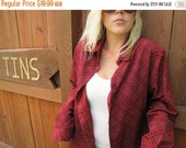 Red Plaid Shirt, Red Plaid Blouse, Yves St. Clair, Button Down Red Blouse, Size Medium Womens Shirt, Red Polyester Shirt, vintagetins