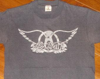 1970's AEROSMITH vintage concert tour rare original rock-n-roll t-shirt 70s Band (S) Small vtg Steven Tyler Joe Perry tee tshirt Gift
