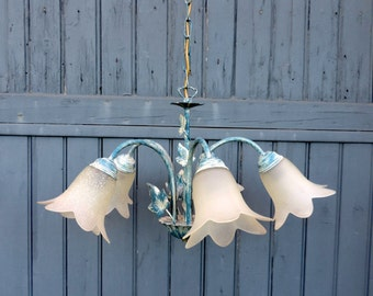 Tole ware, 5 lamp chandelier, ceiling light, pendant light, vintage french home decor