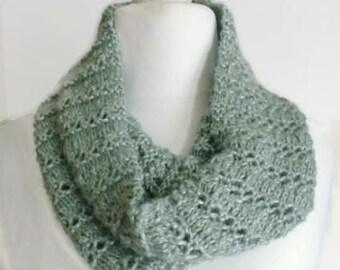 Green cowl neck scarf, circle scarf, sage knitted cowl, loop scarf, sage eternity scarf, handmade scarf, cowl infinity scarf, knit cowl