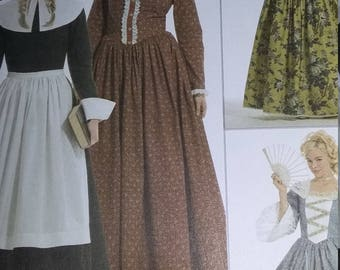 UNCUT and FF Pattern Pieces Simplicity 3723 Sewing Pattern  Andrea Schewe Sizes 14 thru 22 Womens Colonial Costumes