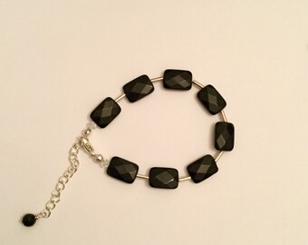 Black onyx and Swarovski crystal bracelet