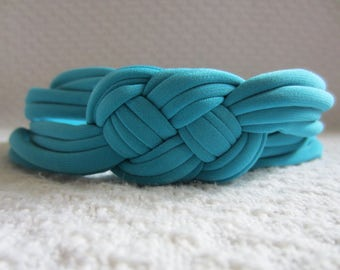 Adult Womens' Headband in Turquoise, handmade in a nautical sailor knot design for a cute beach accessory. Stretchy, comfortable for summer