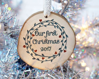 Our First Christmas Ornament, Newlywed Ornament, Tree Slice Ornament, Rustic Ornament
