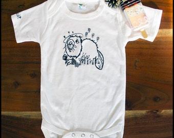 Beaver print short sleeve onesie