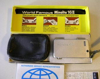 Vintage 16II Minolta Camera with Strap, Case & Box Spy Subminiature 22mm Rokkor Sub Miniature