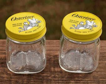 Vintage Osterizer Mini-Blend Glass Containers / Storage Jars with Yellow  Lids Set of 2