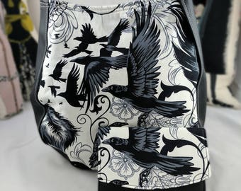 Black and White Goth, Antique, Skull and Spider, Raven  Purse CHARLA Over the Shoulder Purse and Raven Boon Wallet