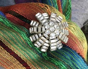 Vintage Art Deco Diamond Rhinestone Pin, Brooch.