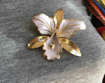 Vintage Metal Enamel Iris Flower Pin Brooch