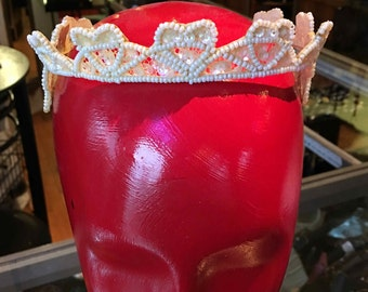 1950s Bridal Wedding Crown, Tiara, Headpiece - Pearlescent Beads & Sequins