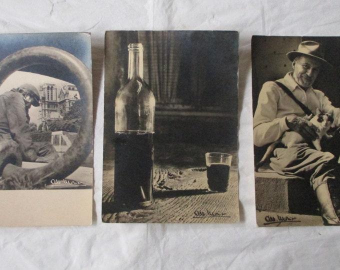 3 Albert Monier Paris Postcards # 168 A728 A763 Pourrat, Smile (Wine), Les Ponts (ca. 1960s)