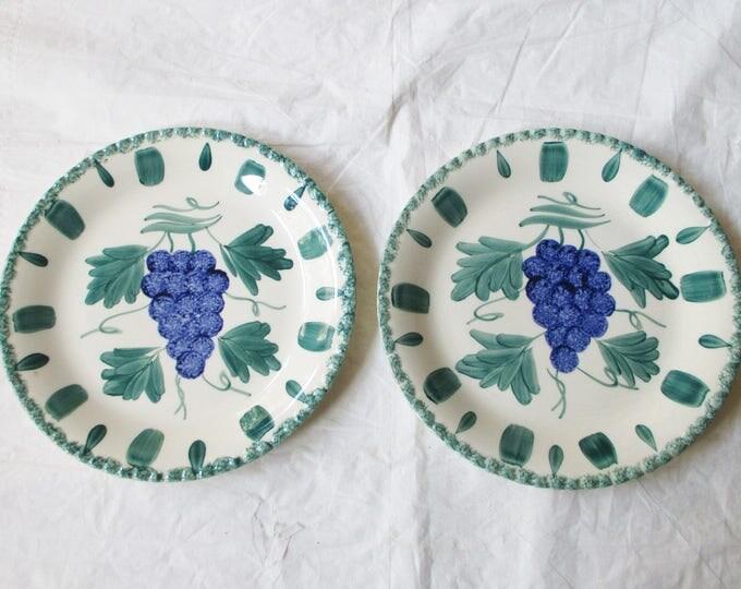 "2 Southern Potteries Inc. GRAPE SALAD 8.25"" Plates, Candlewick Spongeware (c. 1940s)"