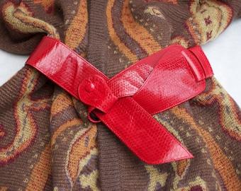 Vintage Red Snake Skin Eighties Belt, Structured Belt, Architectural