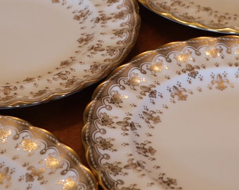 "Copeland Spode ""Fleur De Lys - Gold"" - Set of Four Bread Plates, Small Dessert Plates, Tea Party Plates, Wedding Cake Plates"