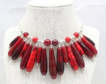 Red Handmade Lampwork Glass Teardrop Bead Necklace, Sterling Silver, SRA, Lobster clasp, Christmas Party