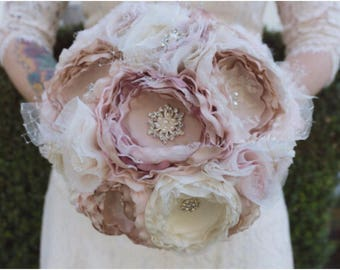 Fabric bouquet, fabric flower bouquet, blush bouquet, brooch bouquet, bride bouquet, bridesmaid bouquet
