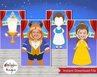 Beauty And The Beast Photo Booth Props (includes Belle, Beast, & Lumiere) - Digital Files