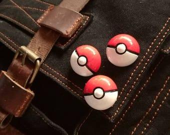 Pokemon pokeball 3d pin, pokemon raised pin, pokemon pokeball badge