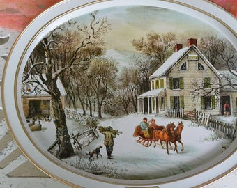 Currier & Ives Tray - Oval, Horse Drawn Carriage - Vintage - Fabulous!