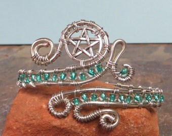 Pentagram bracelet, pentagram wire wrap bracelet, bangle bracelet, silver wire wrap bracelet, teal bracelet, charm bracelet, cuff bracelet