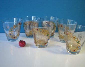 Culver Gold Peacock Cocktail Glasses - Set of 6 -  Double Old Fashioned - 22K - Vintage  1960's