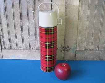 Mid Century Thermos - Glass Insulated - Vacuum Bottle 2442 - King Seeley - Handle -Plaid - Tartan - Vintage 1960's