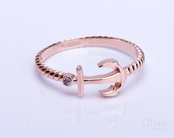 Anchor Ring, Rose Gold Ring, Nautical Jewelry, Anchor Jewelry, Nautical Wedding, Rose Gold Bridesmaid Jewelry, | Nereus