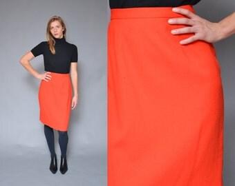 80s Blaze Orange High Waist Skirt M Minimal Mod Pencil Wool Midi Skirt