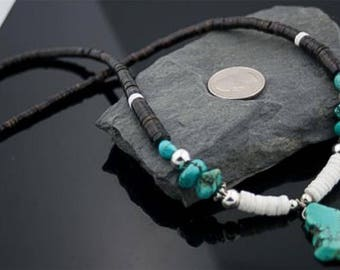 Authentic c. made by charlene little navajo .925 sterling silver graduated heishi turquoise native american necklace 390593289485