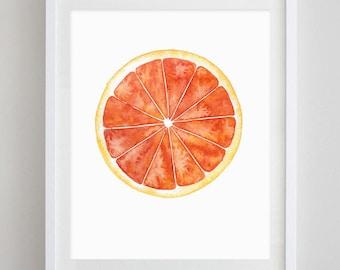 Grapefruit Watercolor Art Print