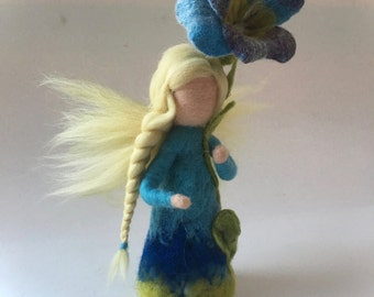 Violet Fairy.Waldorf. Flower fairy.Hand-felted. Waldorf. Seasonal.