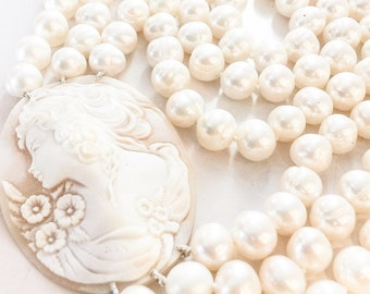 Multi Row Freshwater Pearl and Cameo Necklace