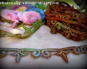 Trim, Hand Dyed, Lace, Sewing, Embellishments, Shabby Chic, Craft Supplies, Destash