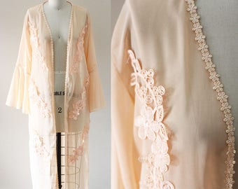 1970s peach sheer robe // bell sleeve robe // vintage robe
