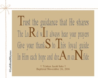 Gifts For Christians Baptism Gift Boy Baptism Gifts For Godchild Baptism Decorations Religious Printable Personalized Poem 8x10 Tristan